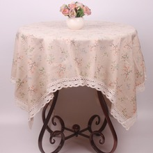 Japan Style Beige Cotton Linen Flowers Lace Tablecloth for Large Dinning Tables / Square Leisure Table Cloth for Small Tea Table