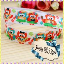 15mm high quality custom printed ribbon 50 yards FOE owl bow elastic bag sideband logo printed ribbon 100% polyester single face(China)