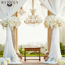 Party Decoration Organza fabric table top curtain wedding Chair Sash Bow Table Runner Swag table skirt 10M*1.35m(China)