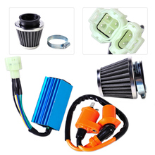 DWCX Racing Ignition Coil + 6 Pin CDI Box + Air Filter Kit for GY6 50cc 90cc 125cc 150cc Scooter Moped Go Kart 4-stroke engines