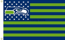 Seattle Seahawks with Seattle City Skyline Flag 3ft x 5ft Polyester NFL brass metal holes,free shipping