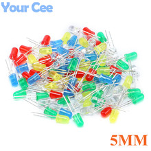 100pcs/lot 5MM Led Diode Kit Mixed Color Red Green Yellow Blue White Light Emitting Lamp Assorted Kit