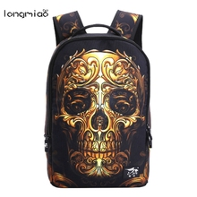 Longmiao 2016 Women Mochila 3D Cartoon Printing Men Backpack Street Punk Bag Rock Skull Backpack School Bags For Teenagers(China)