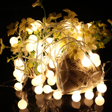 flameless portable led string light with round ball bulb, battery operated home party light/ wedding decoration,2 color option(China)