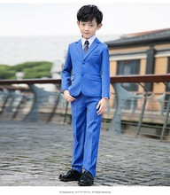 Custom Made Boy Tuxedos Notch Lapel Children Suit Two Buttons Blue Kid Wedding/Prom Suits (Jacket+Vest+Pants+Tie +Shirt) NH15