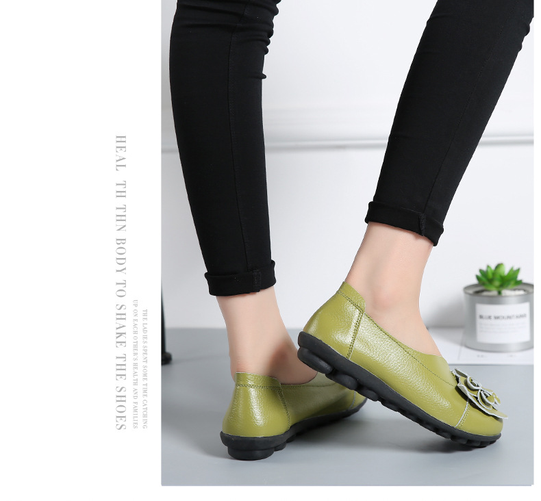 Women Real Leather Shoes Flower Moccasins Mother Loafers Soft Leisure Flats Casual Female Driving Ballet Footwear Women Shoes 16