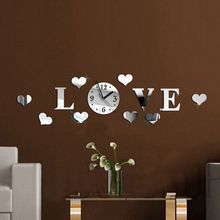 New 3D Crystal Mirror Acrylic Love Wall Clock Modern Fashion DIY Living Room Decoration with Self-adhesive Glue