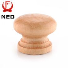 NED 10pcs/Pack 2.5X2CM Medium Size Natural Wooden Cabinet Drawer Wardrobe Door Knob Pull Handle Hardware Plain Circle Handles