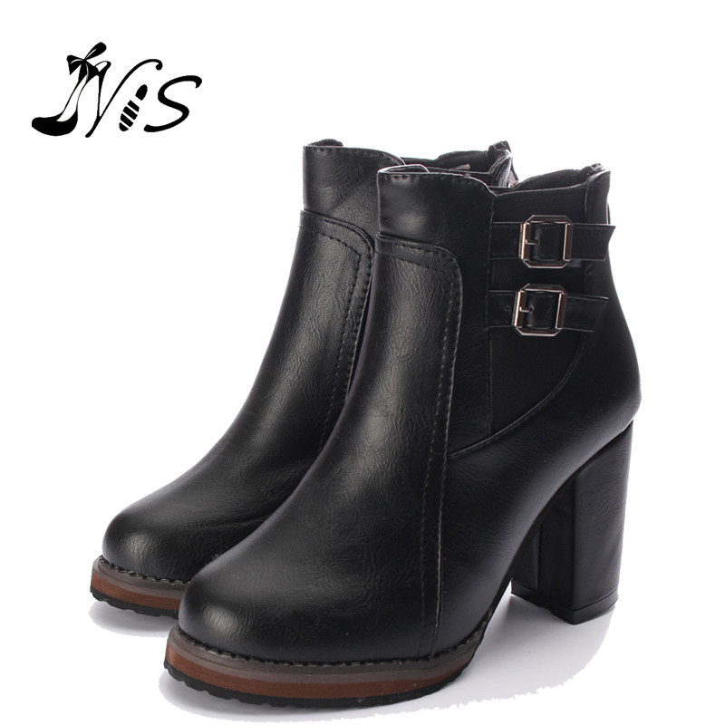 Hot Sale Women Thick High Heel Double Buckle Elastic Bootie Zipper Martins Ankle Boots Ladies Autumn Winter Round Toe Shoes<br><br>Aliexpress