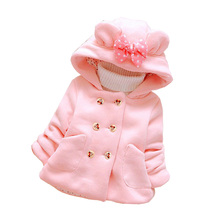 BibiCola Autumn Winter kids christmas clothing baby girl's jacket coats bow cartoon jacket children hoodies outerwear