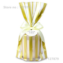 95 Golden vertical stripes Wax Coating ,Packaging Bag,Biscuit bags,Candy Gift Soap Packaging,15*25cm