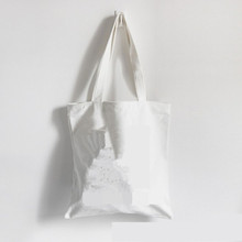 Cotton Canvas Shoulder Bag with zipper Eco Shopping Tote blank canvas shopping bag for DIY painting promotional gift bag(China)