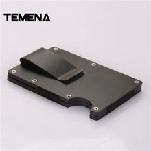 Temena New Slim RFID Blocking Fashion Metal Mini Credit Card Holder ID Holder Stainless Steel Aluminum Wallet Money Clip BCH254
