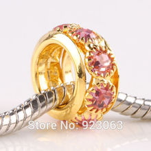 New 50pcs/Lot Pink Crystal Gold Color Spacer European Beads For DIY Jewelry Bracelets ,6x12mm Big Hole Charms Accessories