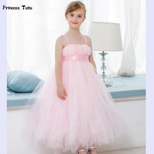 Flower Girl Dresses Pink Tutu Dress Tulle Princess Dress For Wedding Bridesmaid Girl Clothes Baby Kids Pageant Party Ball Gown