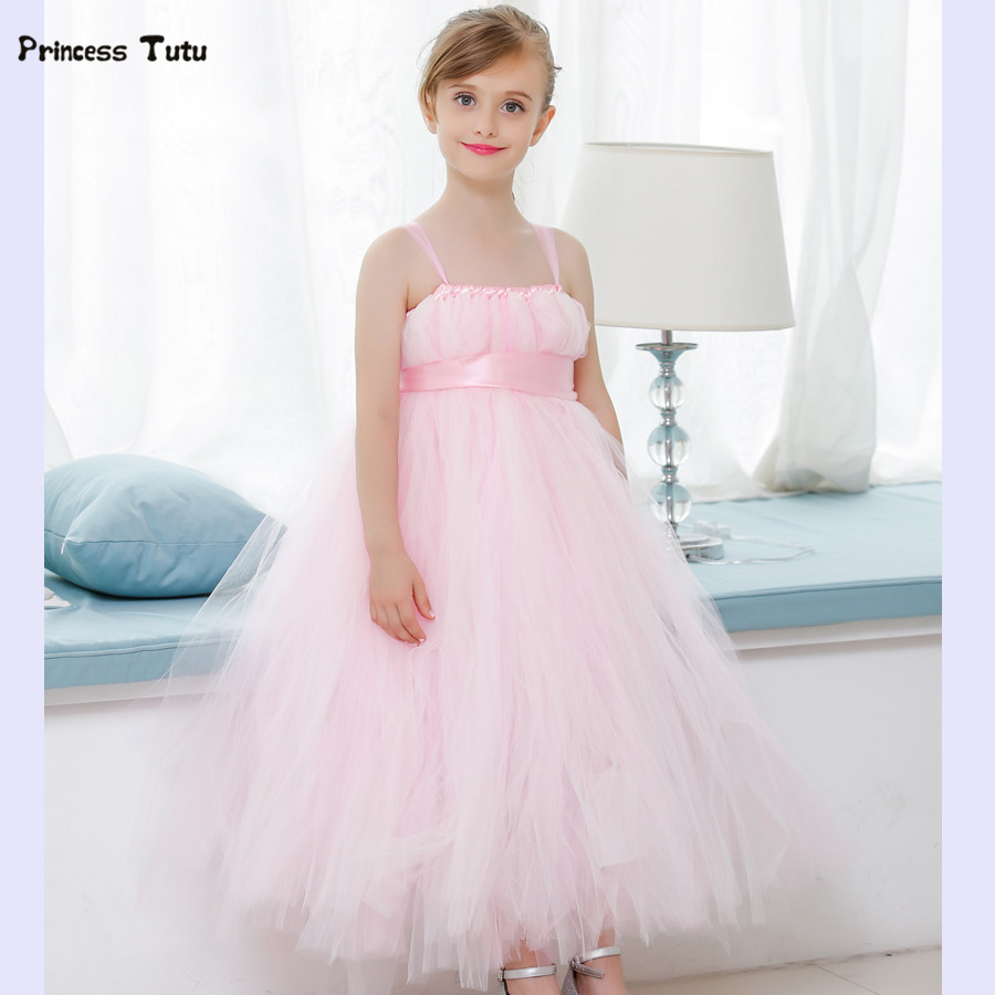 Flower Girl Dresses Pink Tutu Dress Tulle Princess Dress For Wedding Bridesmaid Girl Clothes Baby Kids Pageant Party Ball Gown<br>