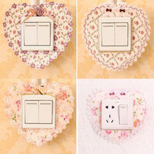 Pastoral Lace Fabric Switch Stickers Cover Dust Wall Stickers for Home Garden Decor 2 pcs New Arrivals