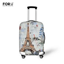 Stretch Eiffel Tower Printing Travel Luggage Protective Dust Cover to 18-28 Suitcase Cover Elastic Waterproof Travel Accessories
