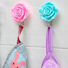 Wholesale 2PCs Creative Home Rose Flower Sticky Hook After Door Wall Clothes Hat Hanger hooks