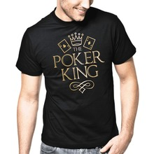 2017 Summer brand clothing Solid Color Men T shirt The Poker King Texas Hold Em Flush Gold Metallic Skate T-shirt