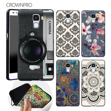 CROWNPRO Soft Silicone Or Hard PC Huawei Honor 7 Case Cover Colored Painting Back Protective Honor 7 Honor7 Phone Case