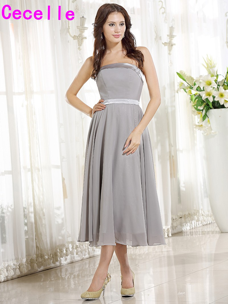 Compare prices on cheap bridesmaid dresses tea length online simple short grey tea length chiffon strapless bridesmaids dresses cheap wedding party dresses custom made bridesmaid ombrellifo Image collections