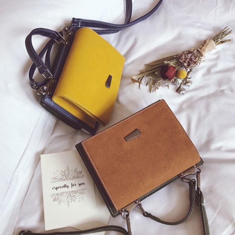 Fashion Double-side Mini Flap Bag Nubuck Leather Small Women Shoulder Bag Hit color Messenger Bag  New Arrival<br>