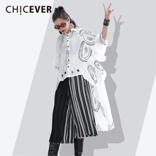 Buy CHICEVER Spring Asymmetry Women's Shirt Loose big Size Three Quarter Batwing Sleeve Print Femlae Blouse Clothes Fashion Casual for $42.70 in AliExpress store