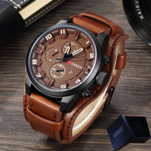 New CURREN Top Brand Luxury Mens Watches Male Clocks Date Sport Military Clock Leather Strap Quartz Business Men Watch Box 8225