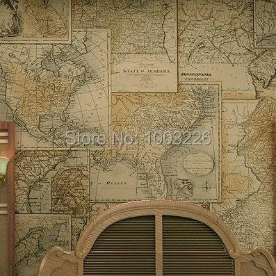 World Map Wallpaper Living Room Wall Paper Vintage Non-woven Home Decor Wall Art Waterproof 10m .papel de parede 3D.papel de par<br><br>Aliexpress
