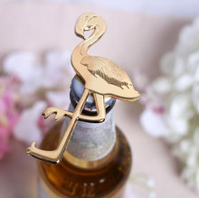 Summer Beach Gold Metal Flamingo Bottle Wine Opener Favour Anniversary Wedding favors gifts Wedding Party supplies Free Shipping