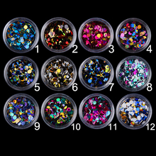 12 Pcs/set Shining Ultrathin Glitter Sequins Colorful Round Nail Glitter Tips Powder UV Gel Manicure 3D Nail Art Decoration(China)