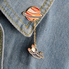 Cartoon Saturn Planet Astronaut Sailing Rabbit Metal Brooch Pins Chain Button Pin Denim Jacket Pin Badge Gift Jewelry