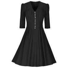 Women Fashion V-Neck Three Quarter Sleeve Slim Elegant Dress Vintage Single Breasted Buttons Put On A Large Dresses(China)
