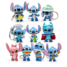 10pcs/lot Stitch action figurine keychain toy set 2016 New Anime stitch figura car key chain ring styling party supply Decor