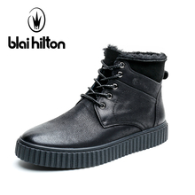 Blai Hilton Brand 100% Genuine Leather Winter Warm Velvet Snow Boots Men Shoes Cow Patchwork Military Motocycle Boot Male(China)