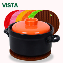 New Arrival Durable Silicone Round Non-slip Heat Resistant Mat Coaster Cushion Placemat Pot Holder Colorful mat(China)