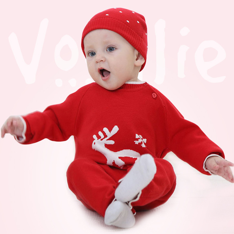 Cute Deer Jumpsuits For Newborns Christmas Cartoon Elk Warm Baby Boy&amp;Girl Clothes Long Sleeve Hooded Knitted Cotton Baby Rompers<br><br>Aliexpress