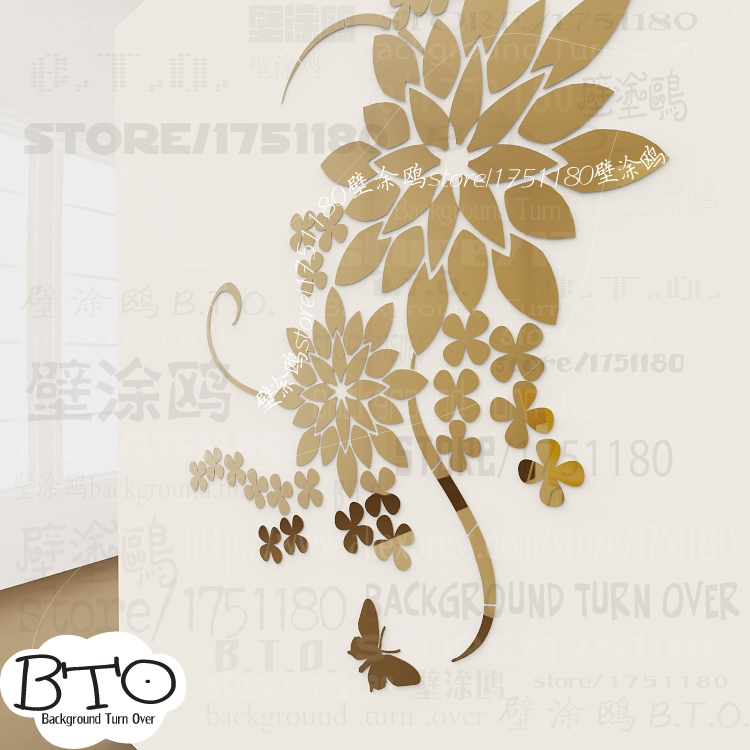 Creative DIY 3d Pansy Large Flower Wall Decals Acrylic Decorative Mirror  Sticker For Living Room Bedroom Part 85