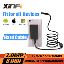 8mm 2.0MP iOS Hard Cable Android Wifi HD Endoscope 1m/3m/5m/7m/10m Hard Wire mini pipe camera Snake Camera car inspection