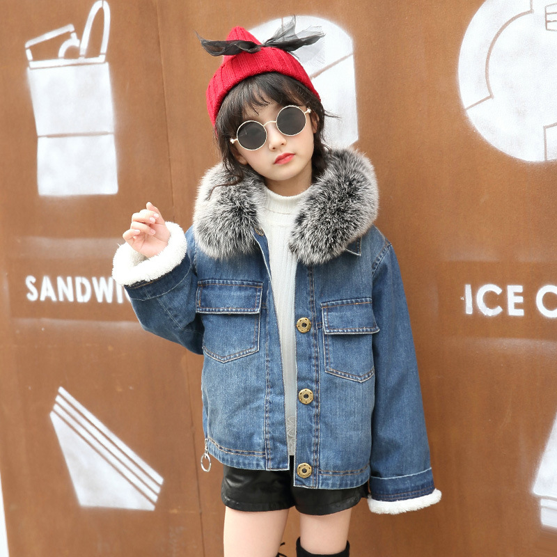 Winter Girls Jacket Children Clothes Denim Jackets Warm Thick Plus Velvet Clothing Kids Coats Fur Collar Outwear For Girl<br>