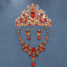 Vintage Baroque Wedding Hair jewelry Princess Queen Crystal Crown Large Red Rhinestone Tiara Golden Diadem For Women Accessories(China)