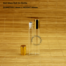 50pcs/Lot Wholesale 8ml Glass Essential Oil Roll on Bottle 4/15OZ Perfume Pot Container Refillable Parfum Women Cosmetic Case