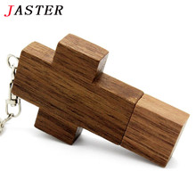 JASTER Brand Wooden cross pen drive pendrive 4GB 8GB 16gb 32gb natural wood Usb Flash Drive U disk Memory Stick keychain Gifts