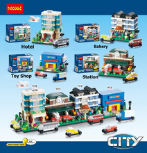 4 set/ lot City Series Street Architecture Plzza Place Hotel Bakery Shop Station Building Blocks Brick Learning & Education Toy