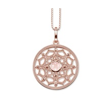 Large Round Pink Lotus Necklaces & Pendants Thomas Style Rose Gold Color Glam Brand Jewelry For Women Ts Necklace Gifts Bijoux