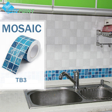 10x500cm Mosaic wall sticker Kitchen art decal PVC self adhesive wallpaper roll bathroom tile waterproof wallpapers photo border(China)