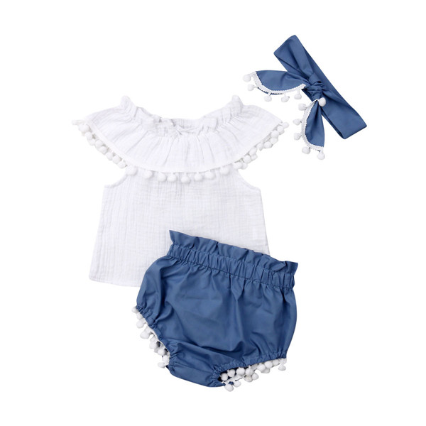 USA Baby Girl Off Shoulder Tops Stripe Shorts Briefs 3pcs Outfits Clothes Summer