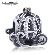 100% 925 Sterling Silver Jewelry Cinderella Pumpkin Coach Charm Crown Beads Fit Pandora Bracelet For Women Original Jewelry