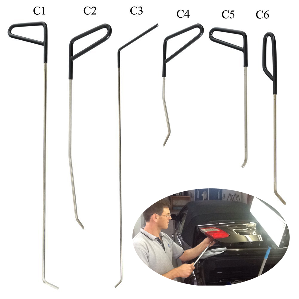 WHDZ Automotive Paintless Dent Repair Tools Kit Dent Remover PDR Hail Repair Tool Metal Tap Down PDR Rods(C1-C6)<br>